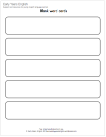 Blank word cards